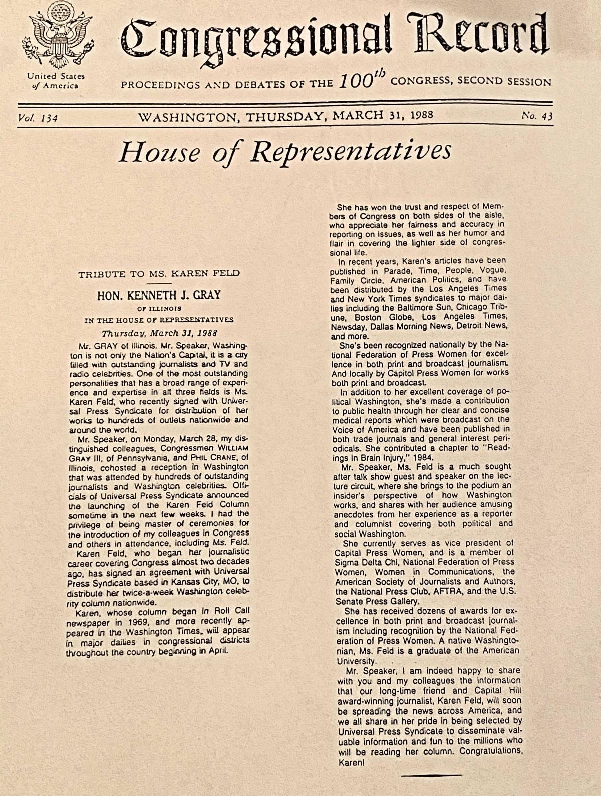 Karen Feld Congressional Record