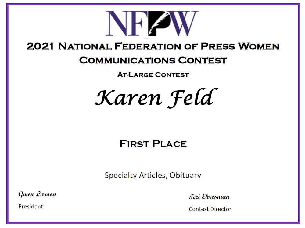 First place Obituary